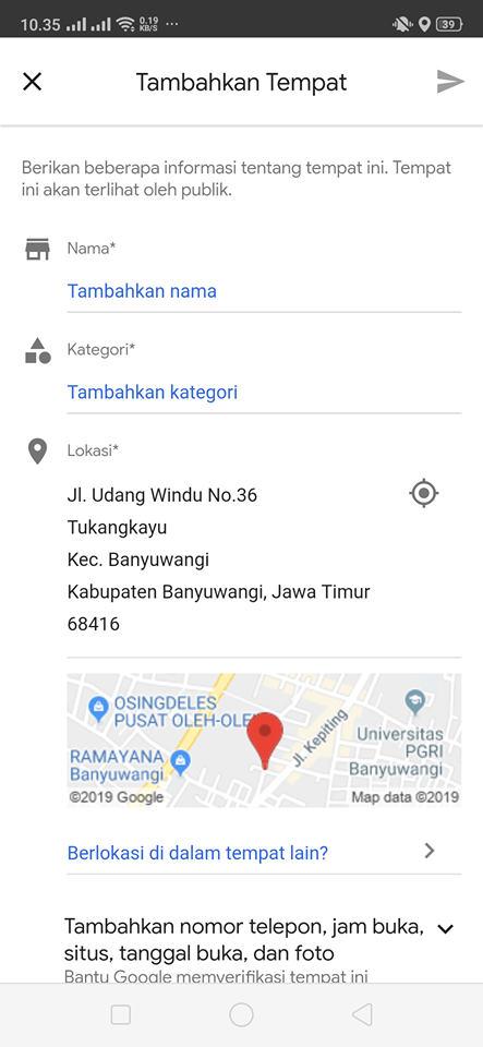 cara menandai lokasi usaha google maps
