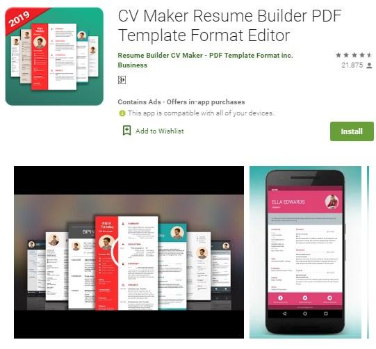 aplikasi pembuat cv android