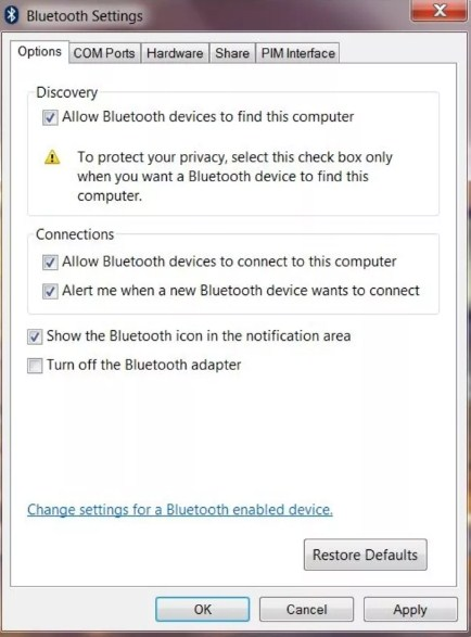 aktifkan bluetooth windows 7